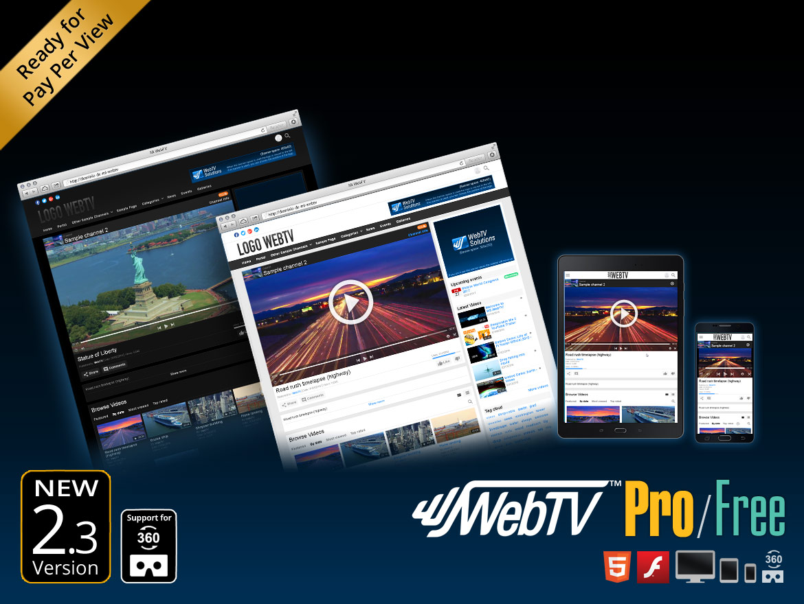 Video CMS WS.WebTV: Create your own professional video portal. Pay Per View ready. Now with 360 + VR video support.