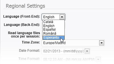 Regional settings: Front-End language selection
