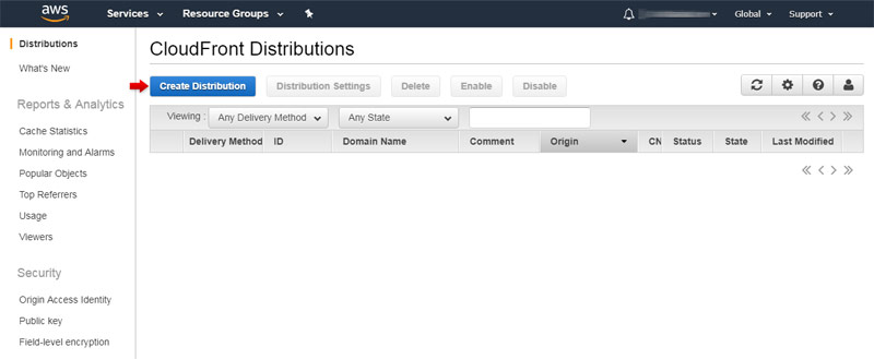 Amazon CloudFront: Creating a distribution