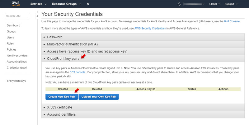 AWS Security Credentials: CloudFront Key Pairs