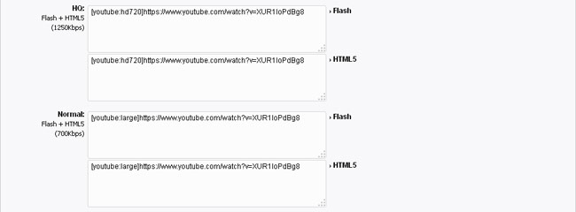 EmbedClip: entering YouTube URL using specific qualities