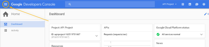 Google Developers Console: Menu