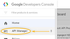 Google Developers Console: Menu / API Manager