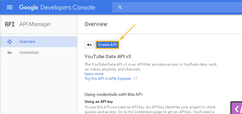 Google Developers Console: API Manager / Enable YouTube Data API