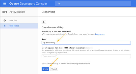 Google Developers Console: API Manager / Create new key - Info
