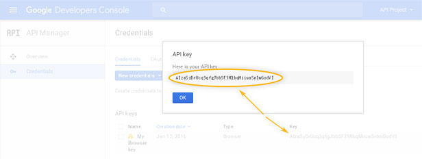 Google Developers Console: API Manager / Create new key - Done