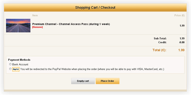 WS.WebTV Store/PPV extension: Shopping Cart