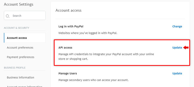 PayPal: Selling options, API access